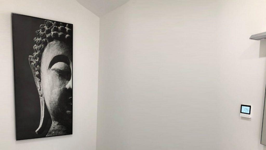 Infracomfort printed heat panel on bathroom wall
